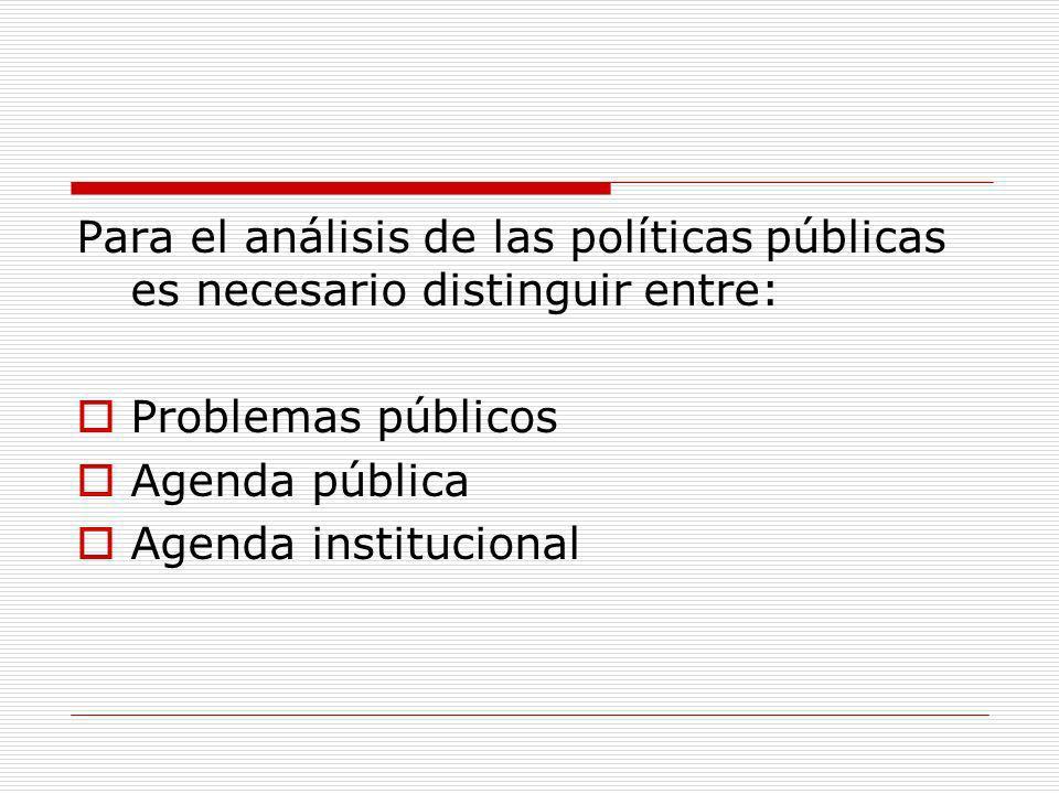 Para el análisis de las políticas públicas es necesario distinguir entre: