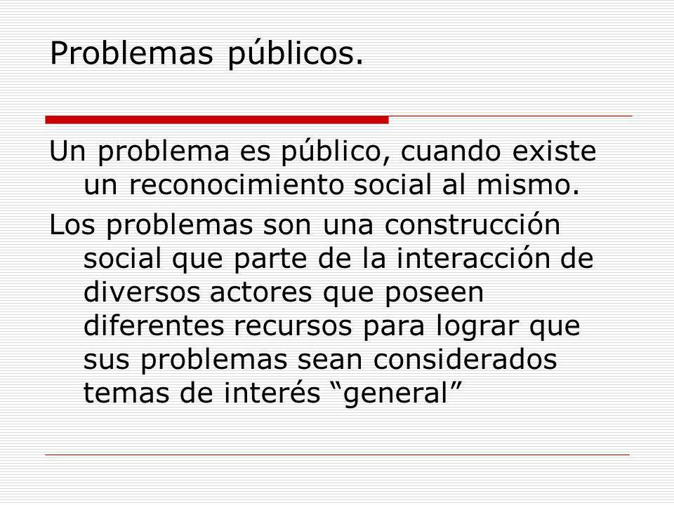 Problemas públicos. Un problema es público, cuando existe un reconocimiento social al mismo.