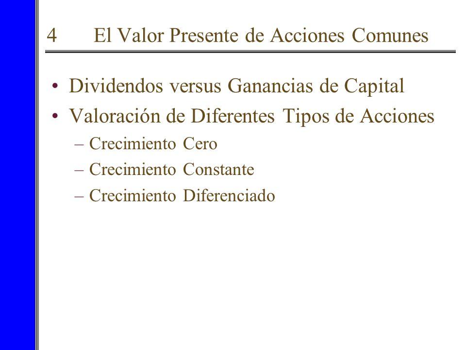 4 El Valor Presente de Acciones Comunes