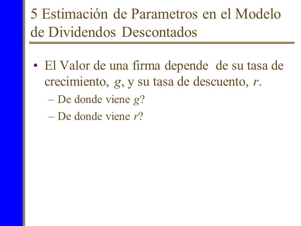 5 Estimación de Parametros en el Modelo de Dividendos Descontados