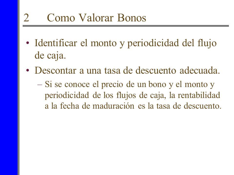 2 Como Valorar Bonos Identificar el monto y periodicidad del flujo de caja. Descontar a una tasa de descuento adecuada.