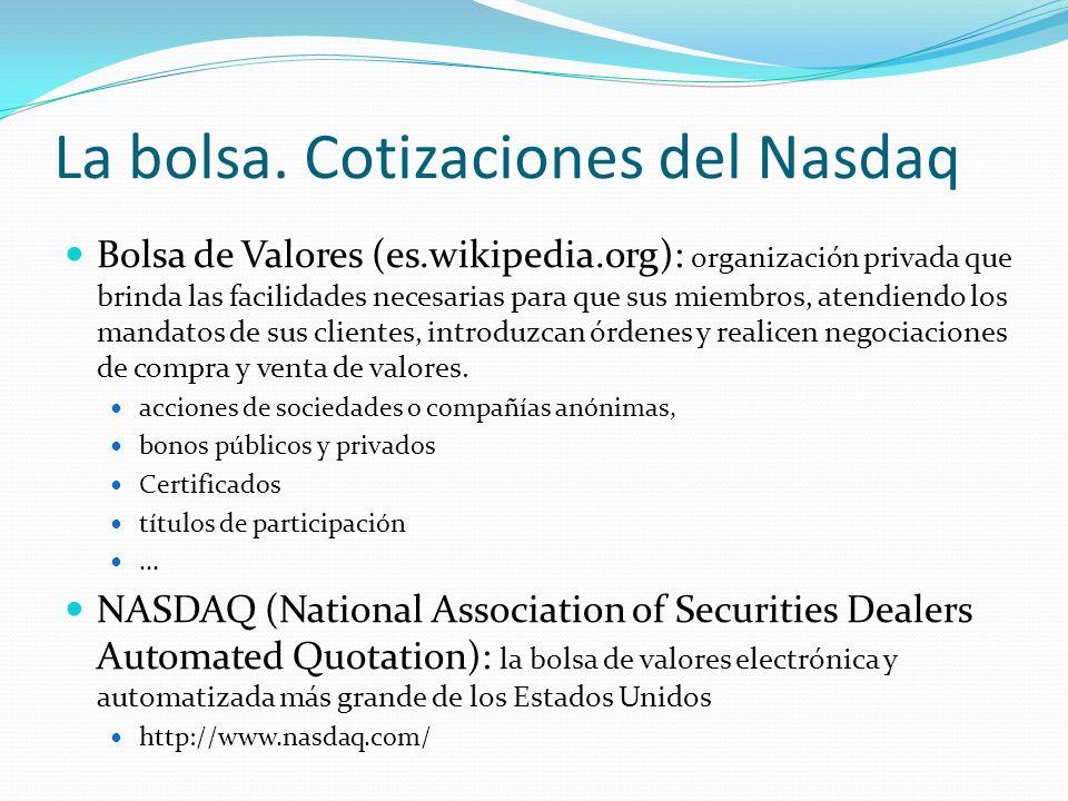 La bolsa. Cotizaciones del Nasdaq