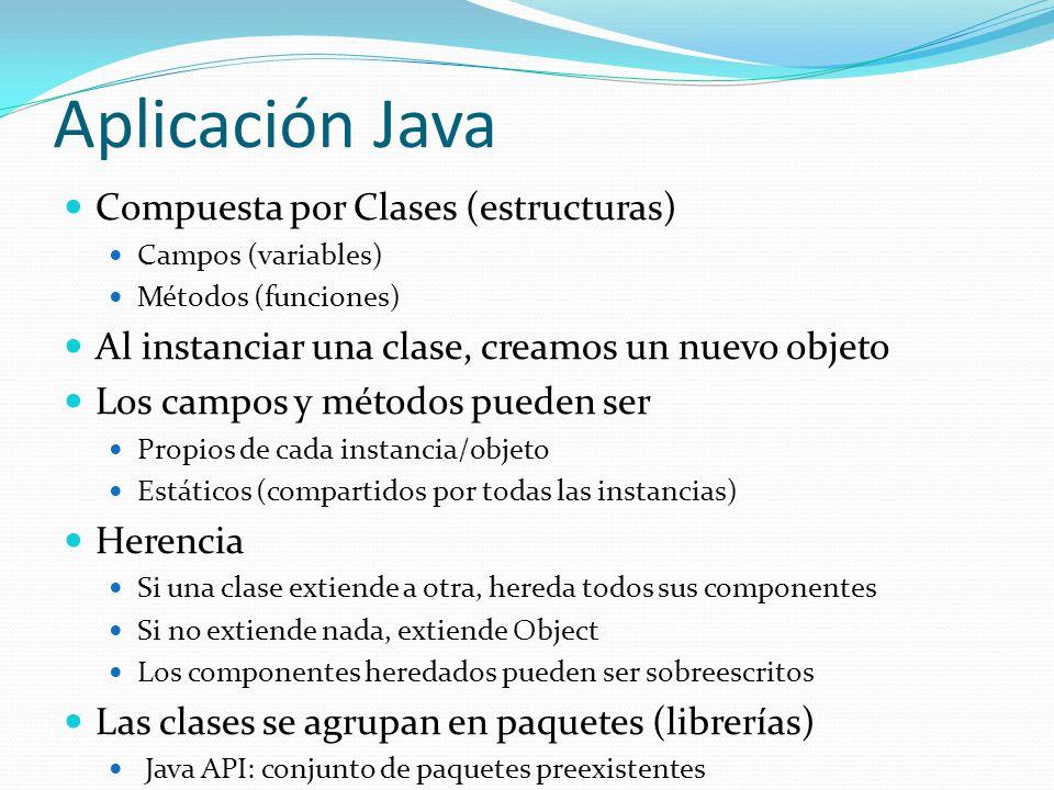 Aplicación Java Compuesta por Clases (estructuras)