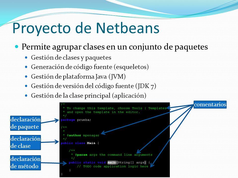 Proyecto de Netbeans Permite agrupar clases en un conjunto de paquetes
