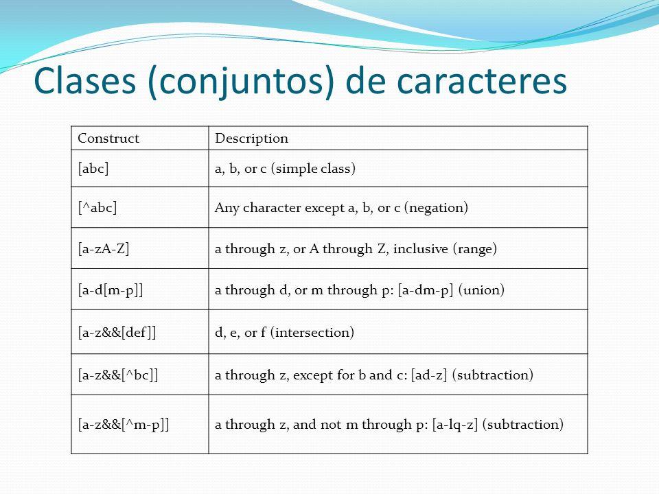 Clases (conjuntos) de caracteres