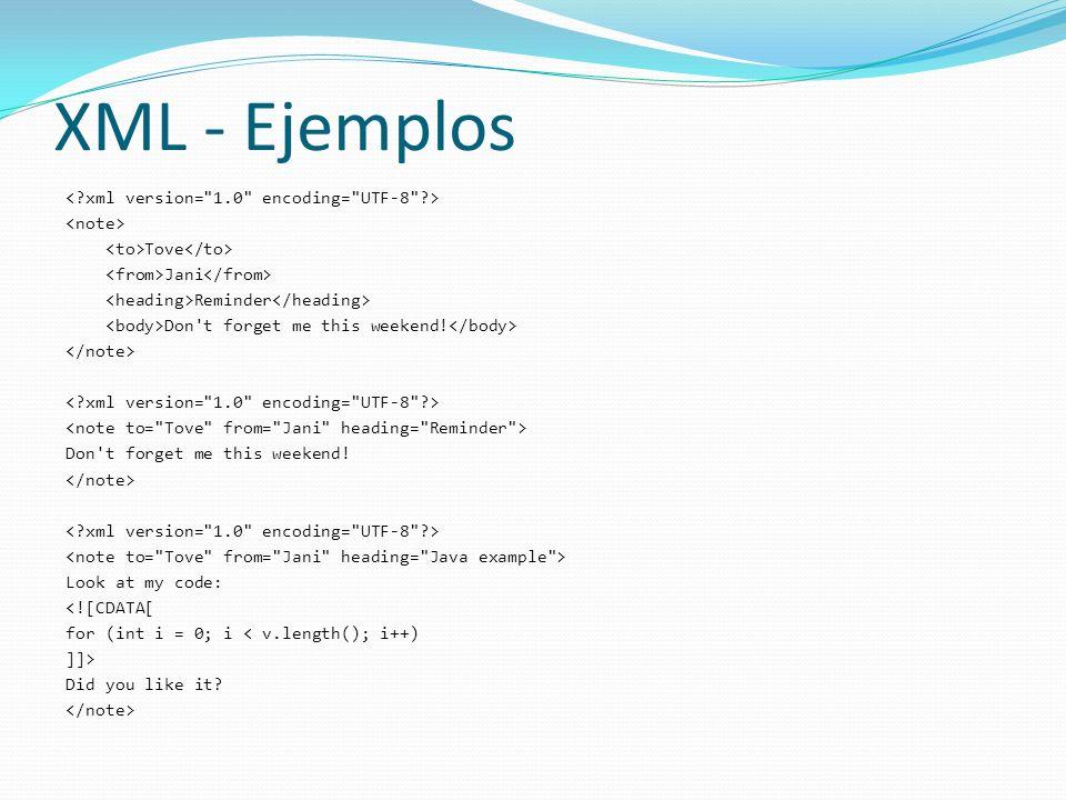 XML - Ejemplos