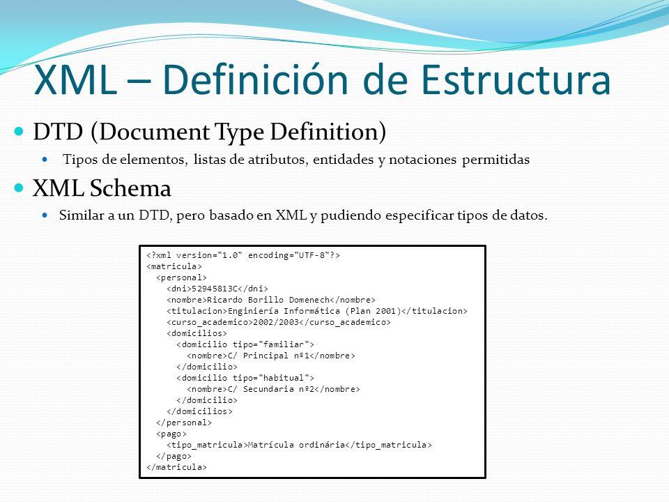 XML – Definición de Estructura
