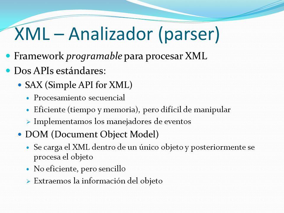 XML – Analizador (parser)