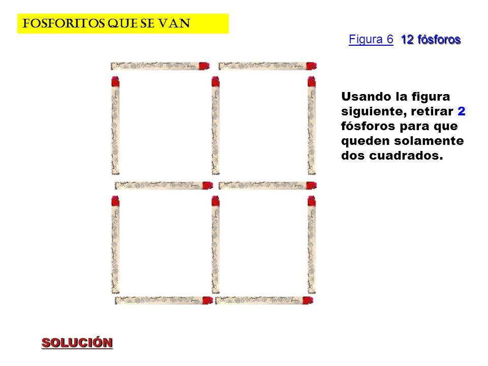 FOSFORITOS QUE SE VAN Figura 6 12 fósforos. Usando la figura siguiente, retirar 2 fósforos para que queden solamente dos cuadrados.