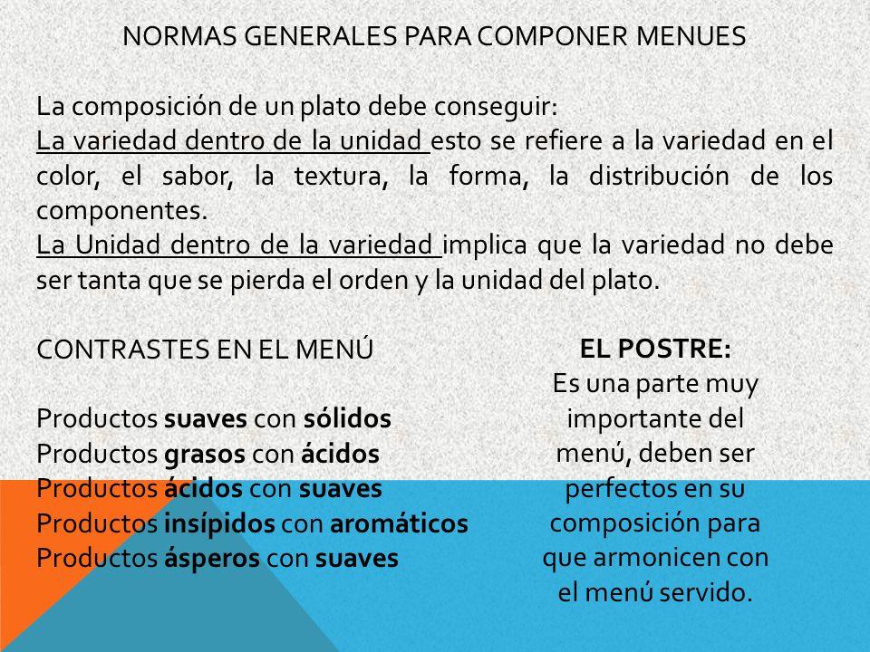 NORMAS GENERALES PARA COMPONER MENUES