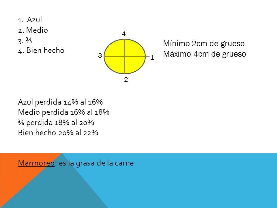 Marmoreo: es la grasa de la carne Mínimo 2cm de grueso
