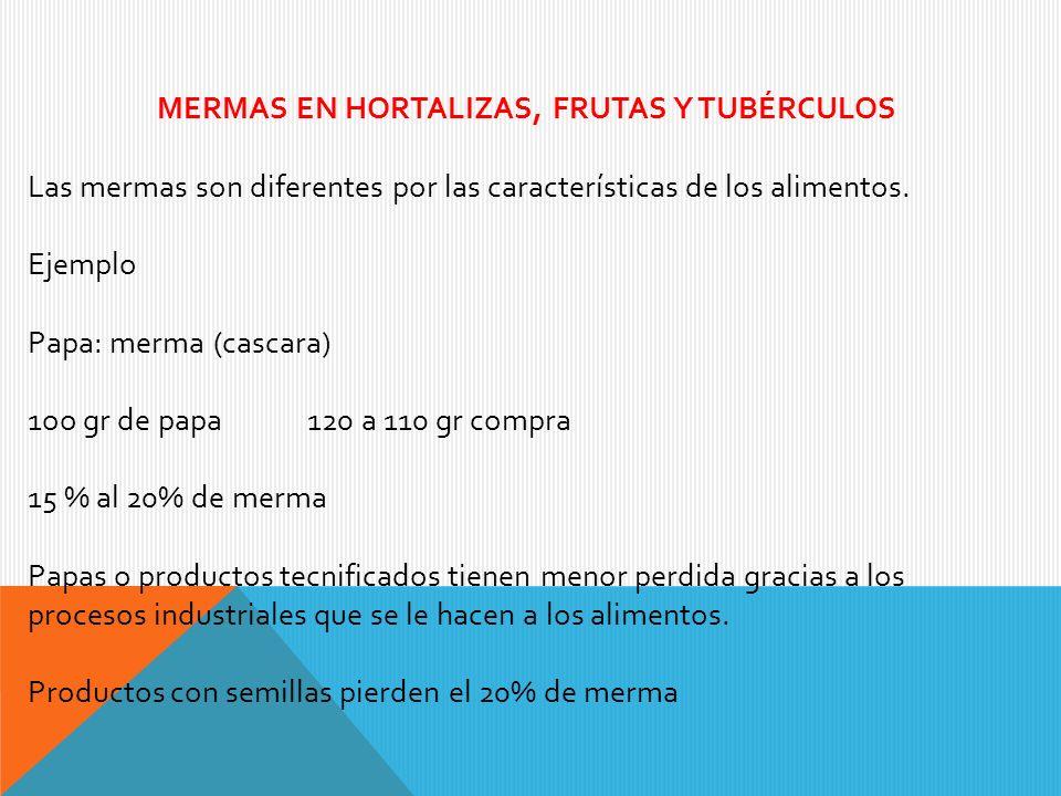 MERMAS EN HORTALIZAS, FRUTAS Y TUBÉRCULOS