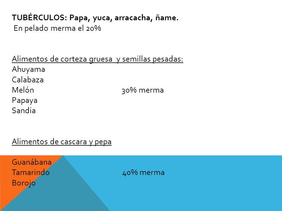 TUBÉRCULOS: Papa, yuca, arracacha, ñame.