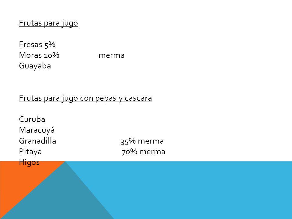 Frutas para jugo Fresas 5% Moras 10% merma. Guayaba. Frutas para jugo con pepas y cascara.