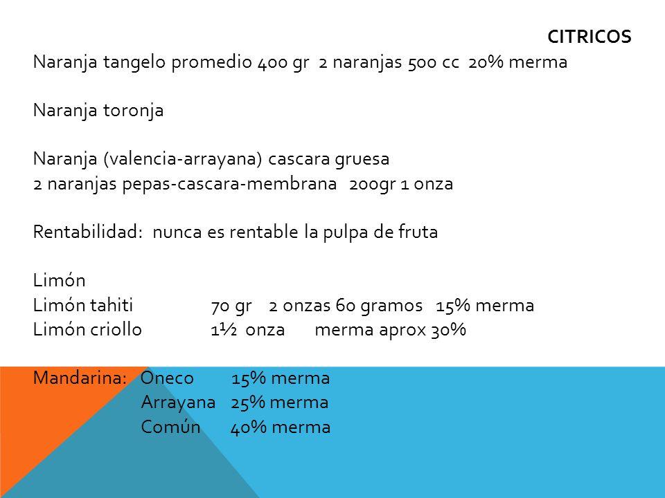 CITRICOS Naranja tangelo promedio 400 gr 2 naranjas 500 cc 20% merma. Naranja toronja. Naranja (valencia-arrayana) cascara gruesa.