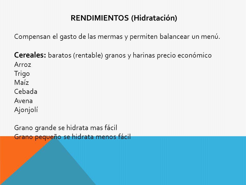 RENDIMIENTOS (Hidratación)