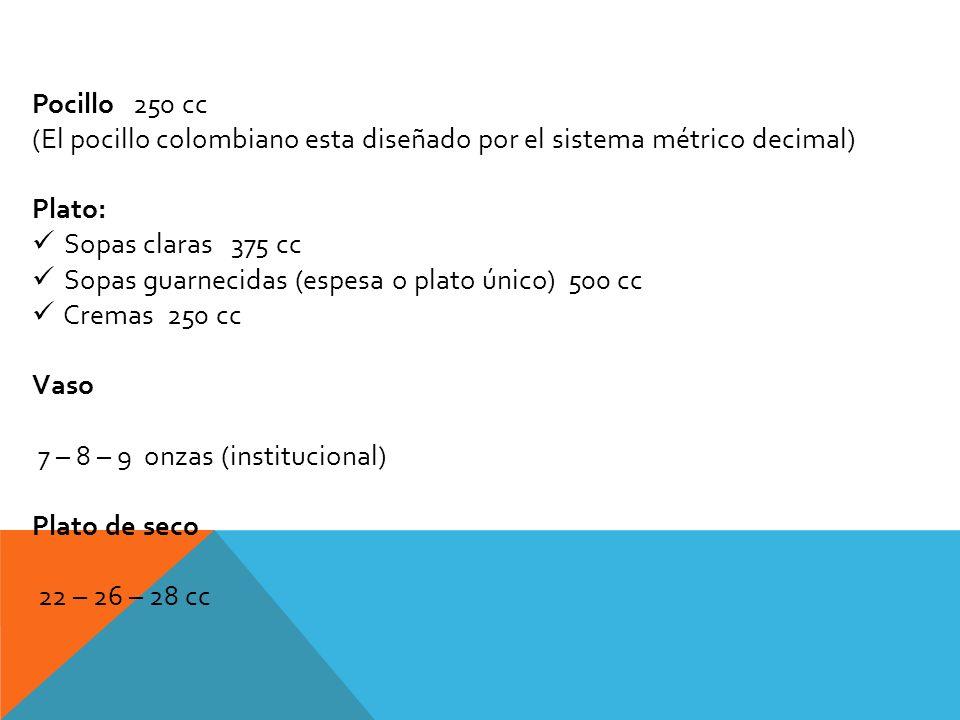 Pocillo 250 cc (El pocillo colombiano esta diseñado por el sistema métrico decimal) Plato: Sopas claras 375 cc.