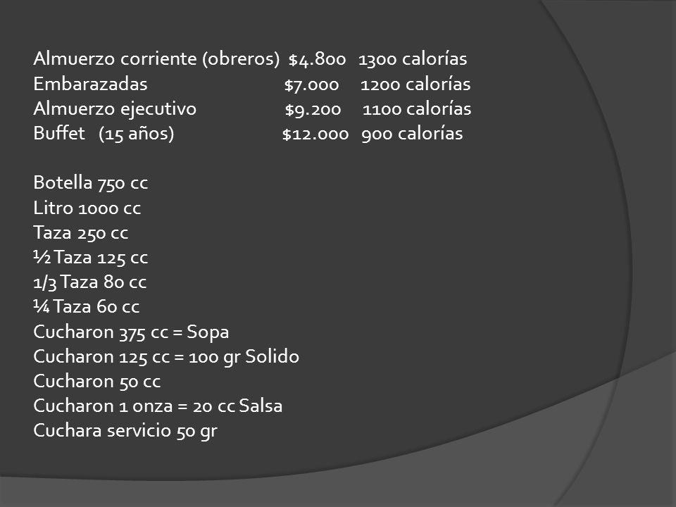 Almuerzo corriente (obreros) $4.800 1300 calorías