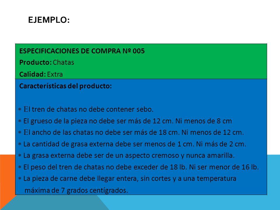 Ejemplo: ESPECIFICACIONES DE COMPRA Nº 005 Producto: Chatas