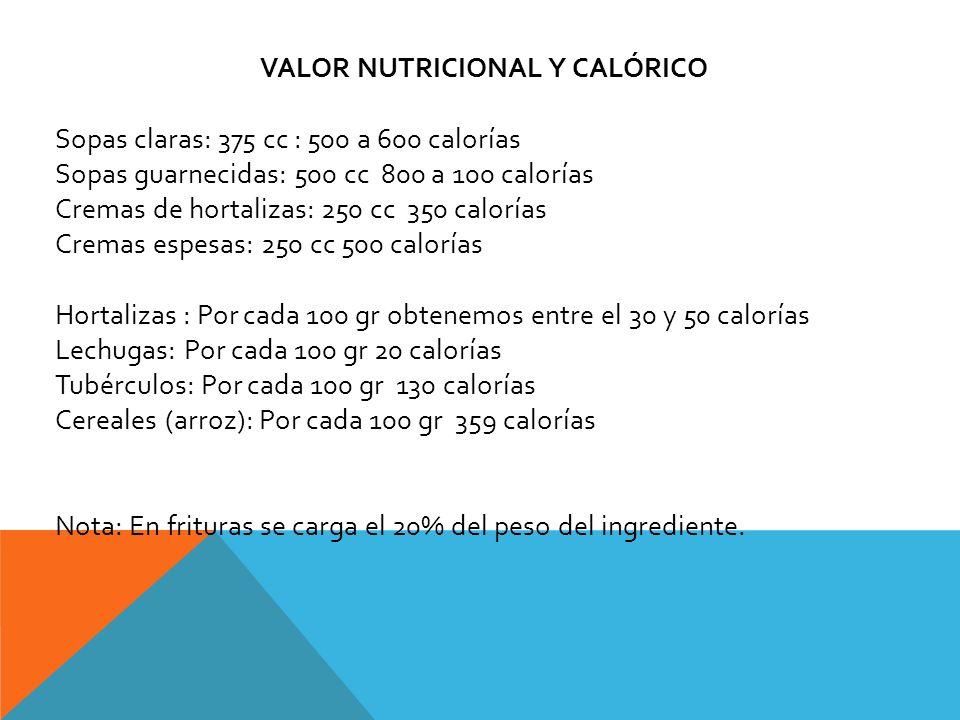 VALOR NUTRICIONAL Y CALÓRICO