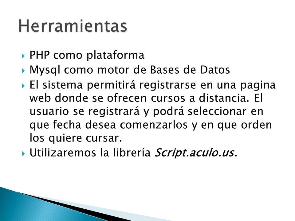 Herramientas PHP como plataforma Mysql como motor de Bases de Datos