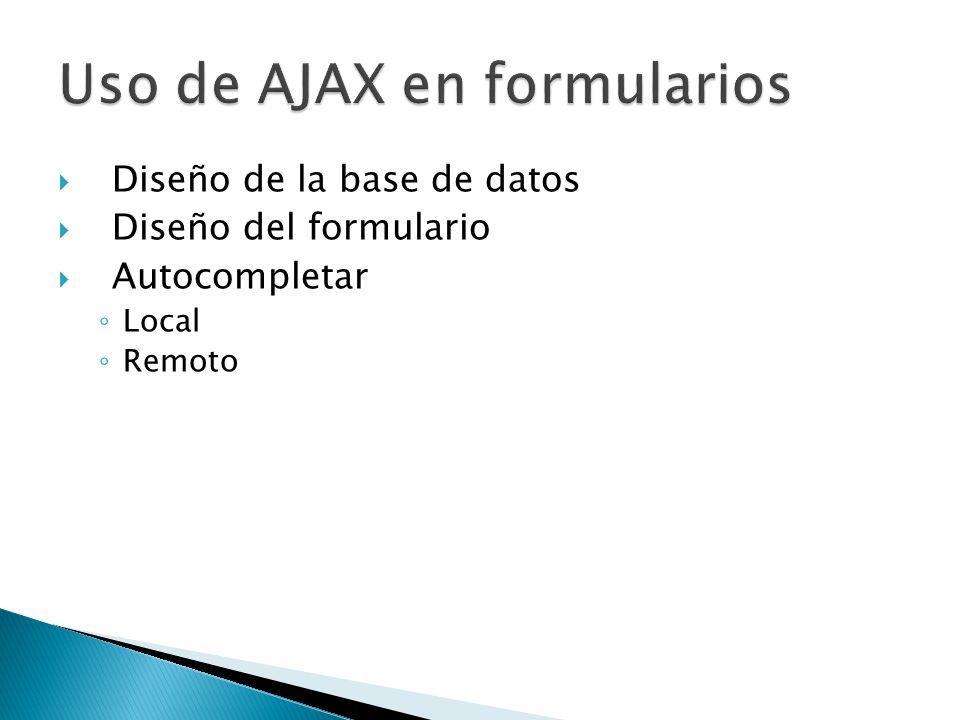 Uso de AJAX en formularios