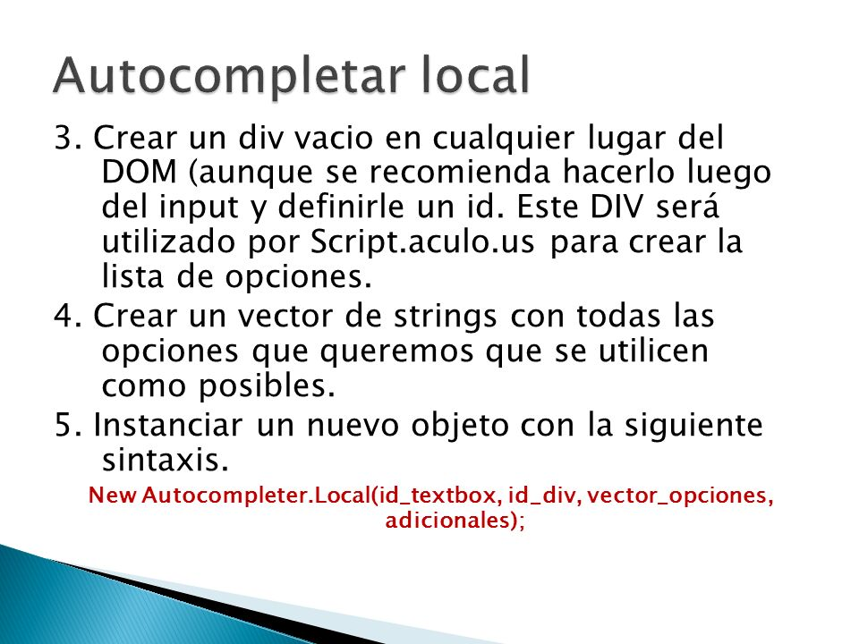 Autocompletar local