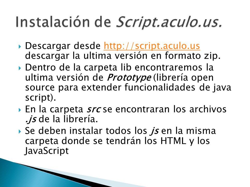 Instalación de Script.aculo.us.