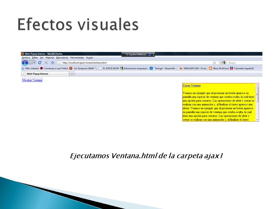 Ejecutamos Ventana.html de la carpeta ajax1