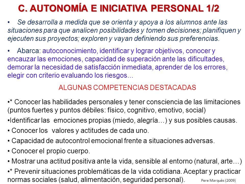 C. AUTONOMÍA E INICIATIVA PERSONAL 1/2