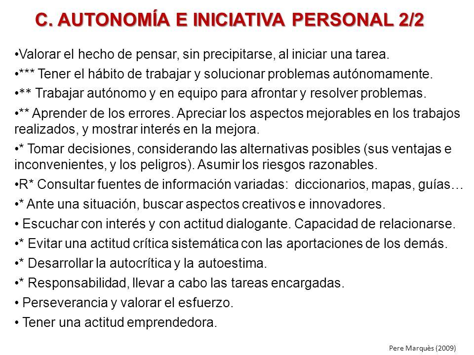 C. AUTONOMÍA E INICIATIVA PERSONAL 2/2