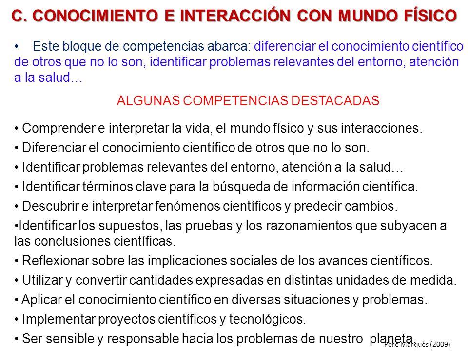 C. CONOCIMIENTO E INTERACCIÓN CON MUNDO FÍSICO
