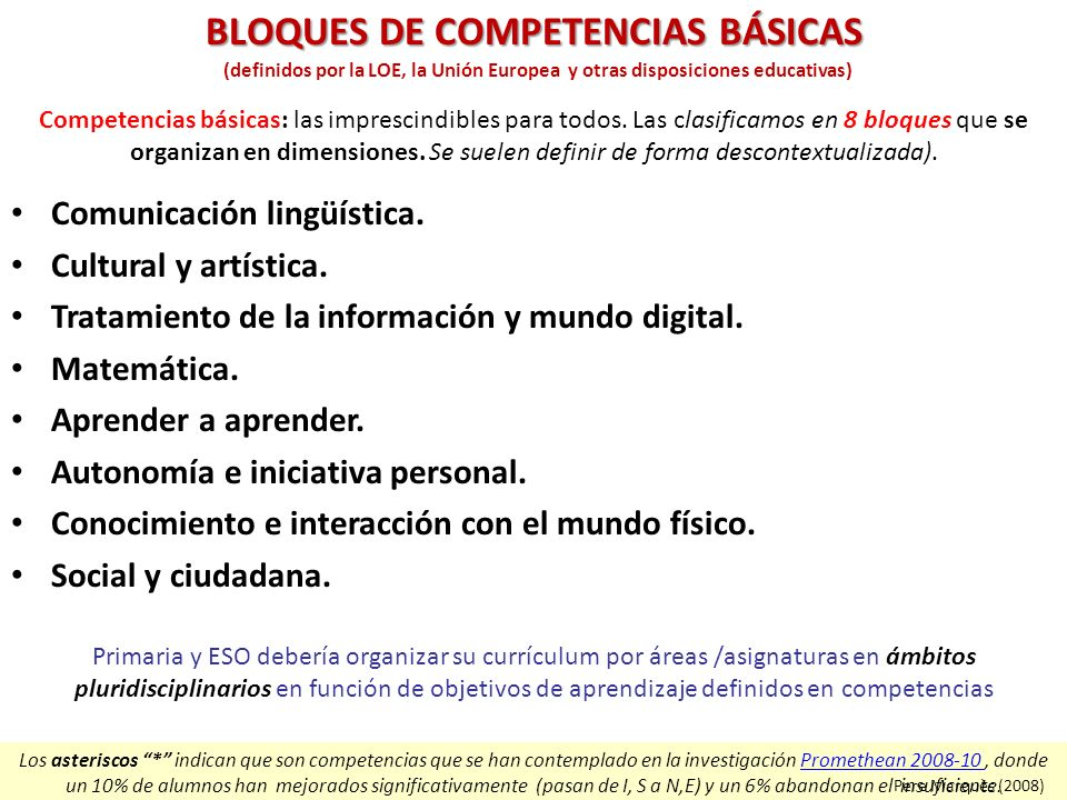 BLOQUES DE COMPETENCIAS BÁSICAS