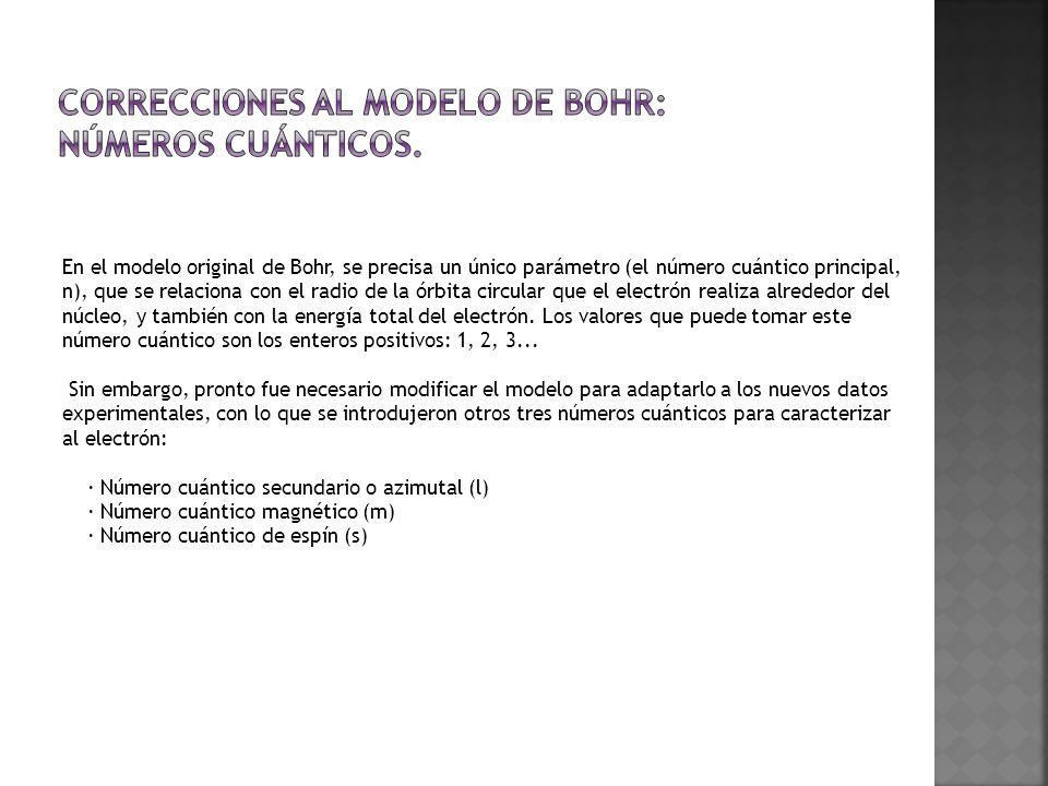 Correcciones al modelo de Bohr: números cuánticos.