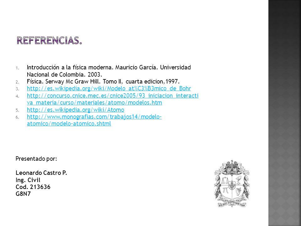 Referencias. Introducción a la física moderna. Mauricio García. Universidad Nacional de Colombia. 2003.
