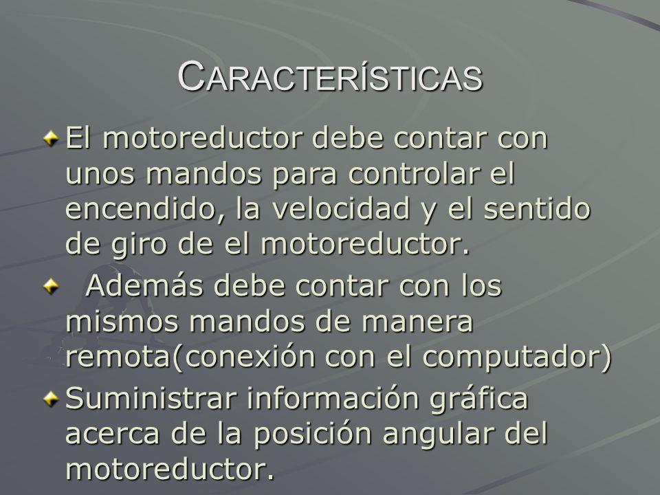 Características El motoreductor debe contar con unos mandos para controlar el encendido, la velocidad y el sentido de giro de el motoreductor.