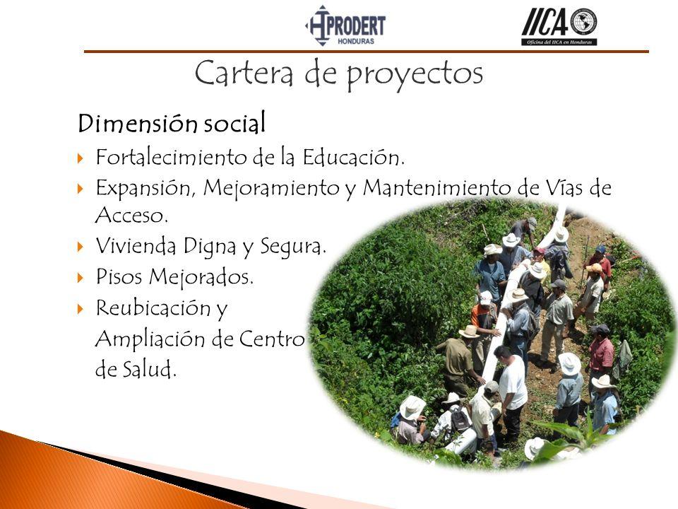 Cartera de proyectos Dimensión social Fortalecimiento de la Educación.