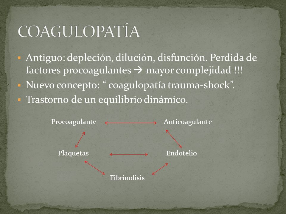 COAGULOPATÍA Antiguo: depleción, dilución, disfunción. Perdida de factores procoagulantes  mayor complejidad !!!