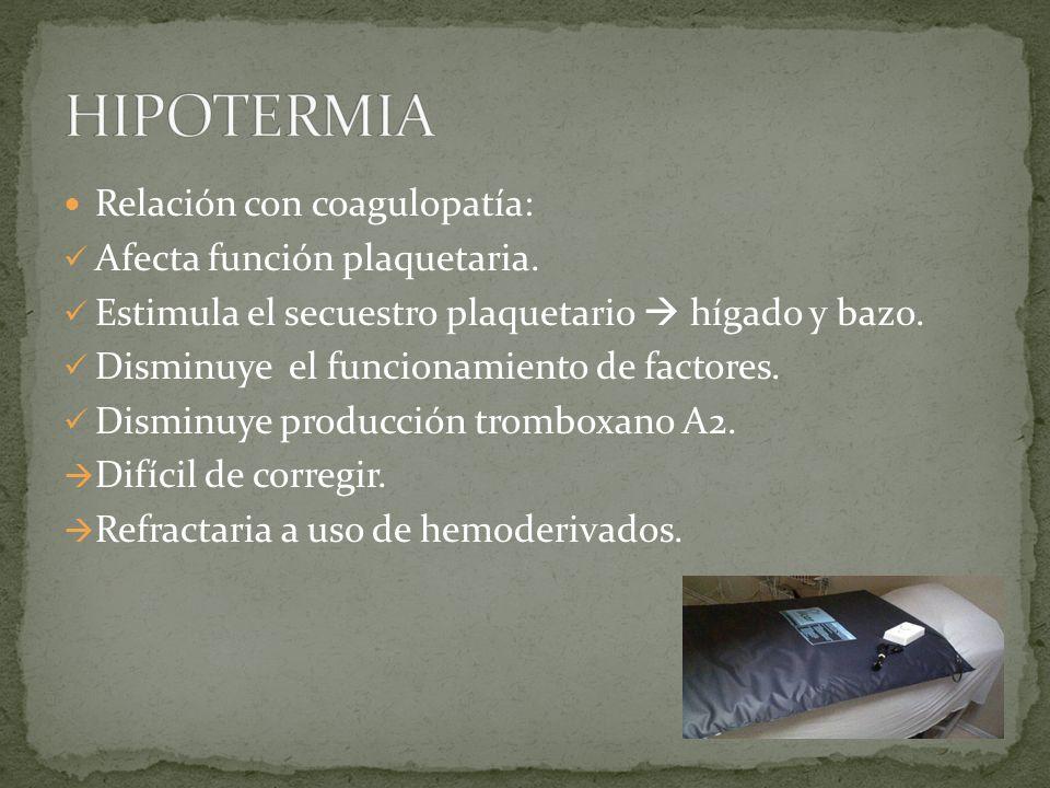 HIPOTERMIA Relación con coagulopatía: Afecta función plaquetaria.