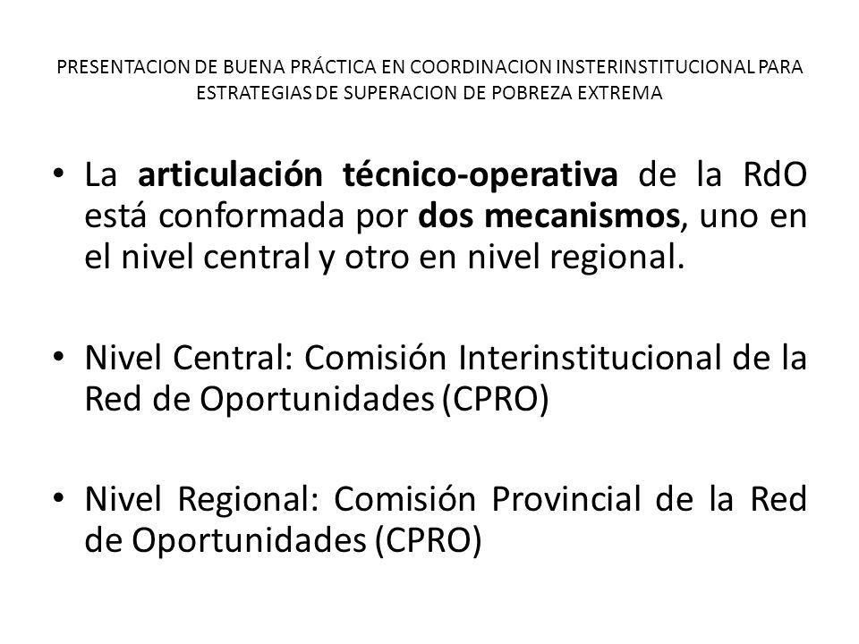 Nivel Regional: Comisión Provincial de la Red de Oportunidades (CPRO)