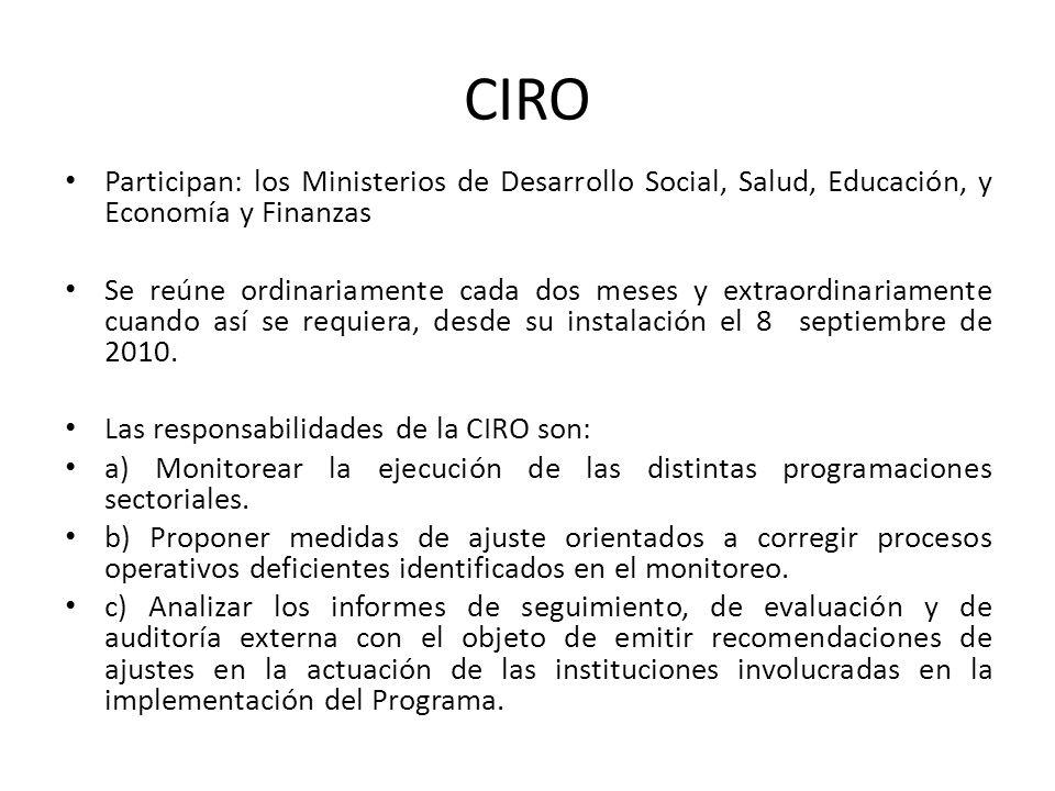 CIRO Participan: los Ministerios de Desarrollo Social, Salud, Educación, y Economía y Finanzas.