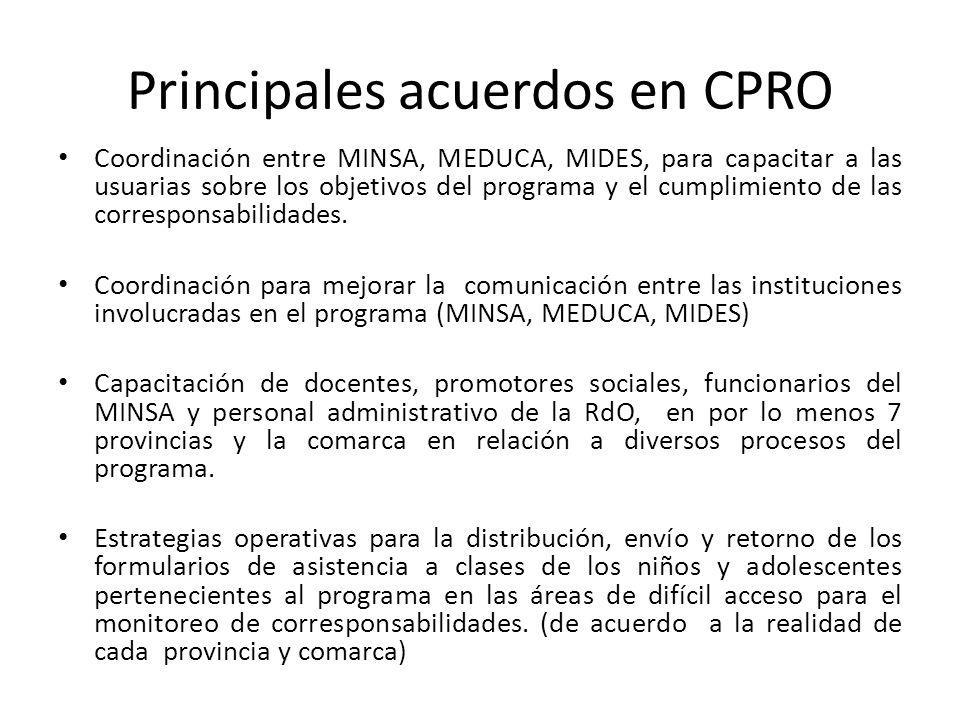 Principales acuerdos en CPRO