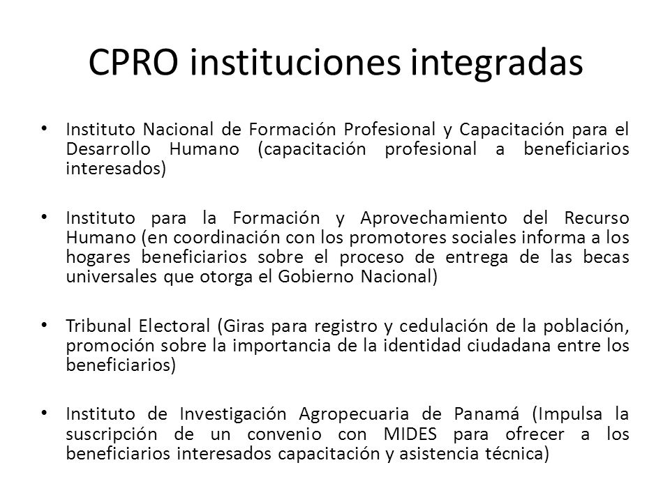 CPRO instituciones integradas