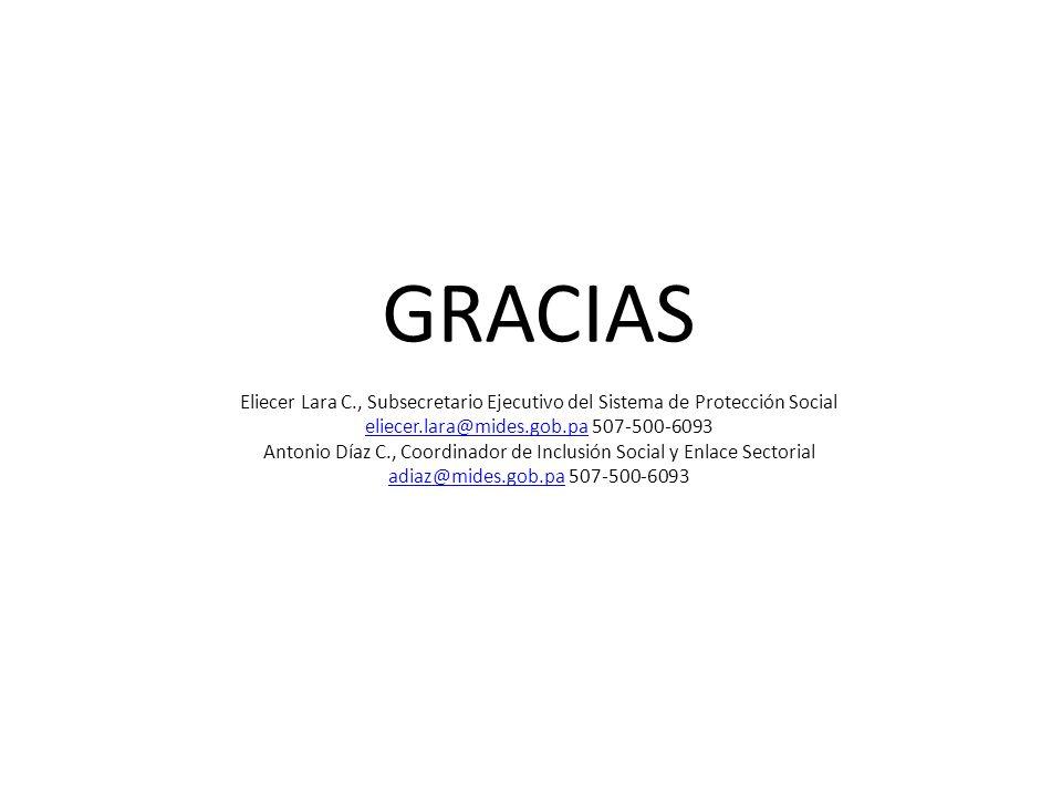 GRACIAS Eliecer Lara C., Subsecretario Ejecutivo del Sistema de Protección Social eliecer.lara@mides.gob.pa 507-500-6093 Antonio Díaz C., Coordinador de Inclusión Social y Enlace Sectorial adiaz@mides.gob.pa 507-500-6093