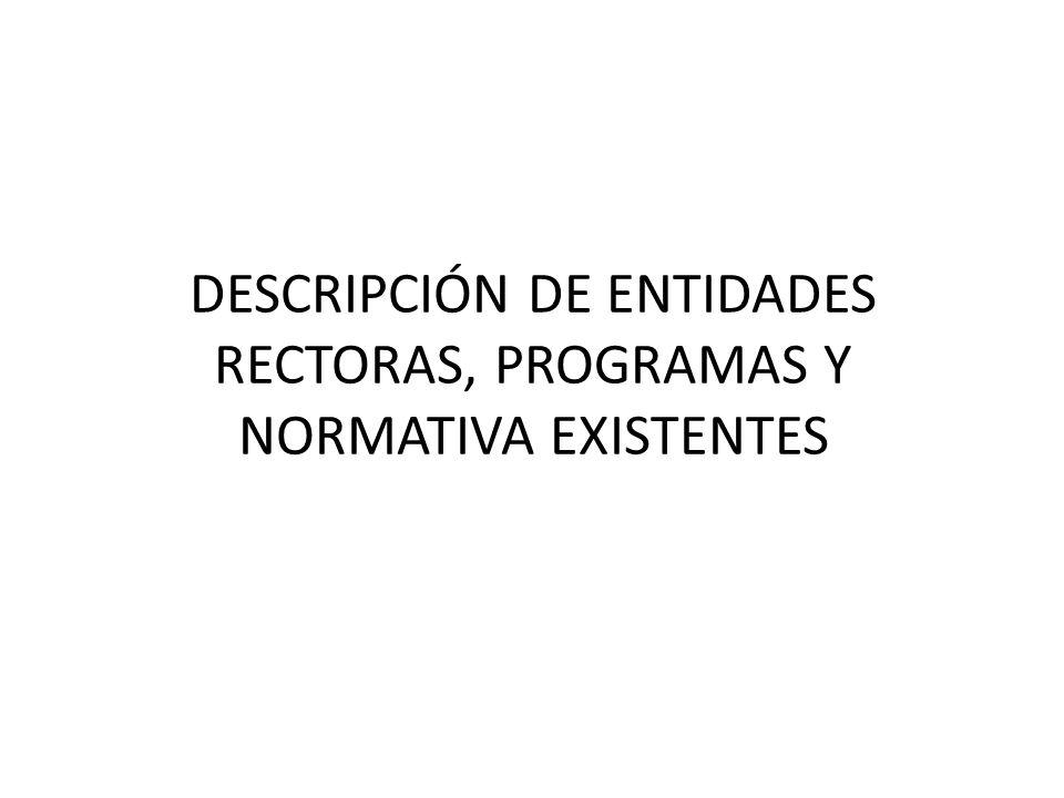 DESCRIPCIÓN DE ENTIDADES RECTORAS, PROGRAMAS Y NORMATIVA EXISTENTES