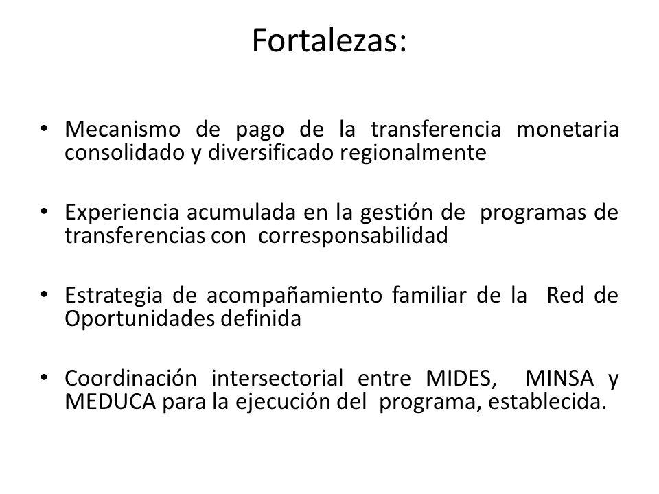 Fortalezas: Mecanismo de pago de la transferencia monetaria consolidado y diversificado regionalmente.