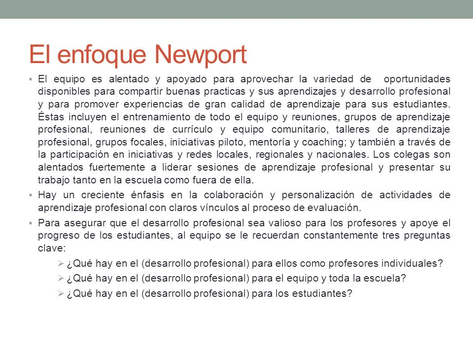 El enfoque Newport
