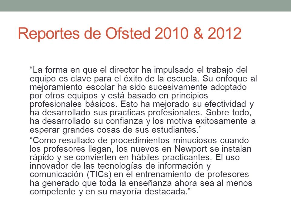 Reportes de Ofsted 2010 & 2012