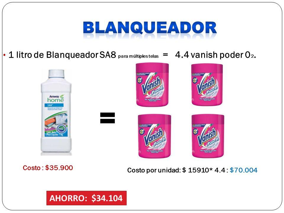 BLANQUEADOR 1 litro de Blanqueador SA8 para múltiples telas = 4.4 vanish poder 02. Costo : $35.900.