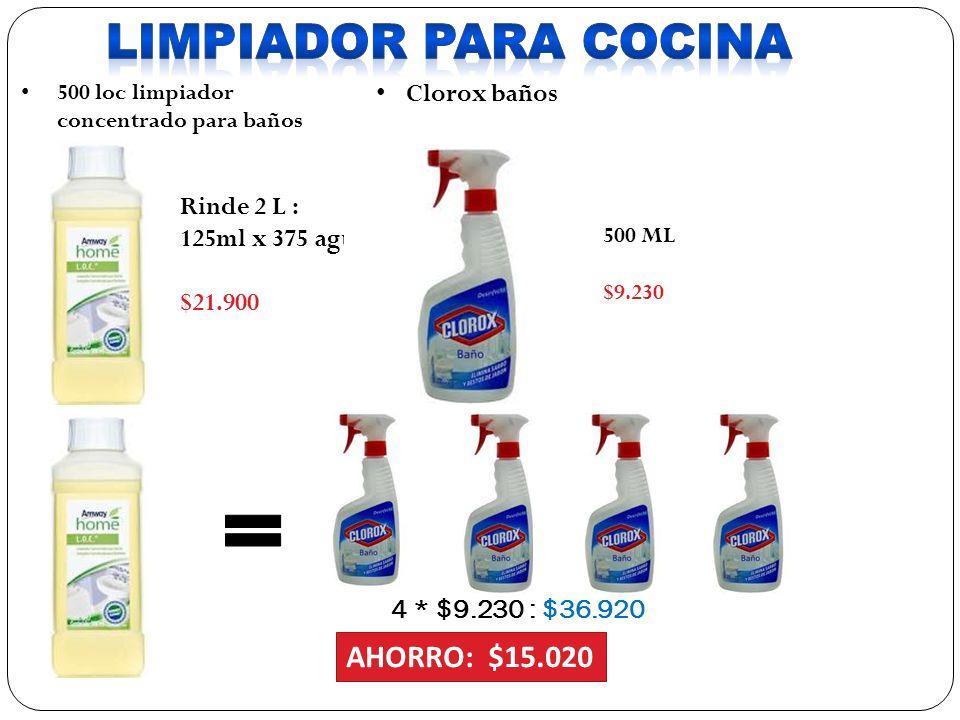 LIMPIADOR PARA COCINA AHORRO: $15.020 Clorox baños Rinde 2 L :